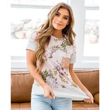 NEW! Berkley Blush Floral, Gray Stripe and Rose Gold Pocket Top - Arrow Twenty Two