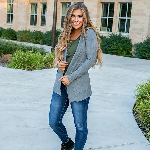 NEW! Favorite Cardigan - Heather Gray - Arrow Twenty Two