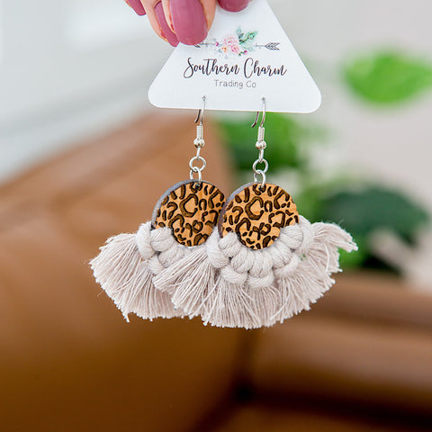 NEW! Josie Macrame and Leopard Earrings - Taupe