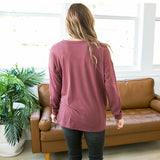 NEW! Summer Burgundy, Charcoal and Leopard V Detail Top - Arrow Twenty Two