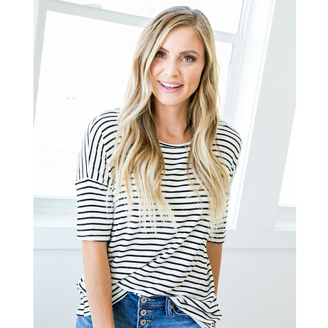 Cora Ivory and Black Striped Top - Arrow Twenty Two