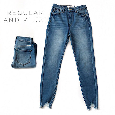 Non Distressed Destroyed Hem Jeans