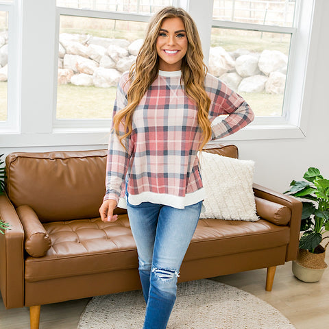 NEW! Erin Mauve and Navy Plaid Long Sleeve Top