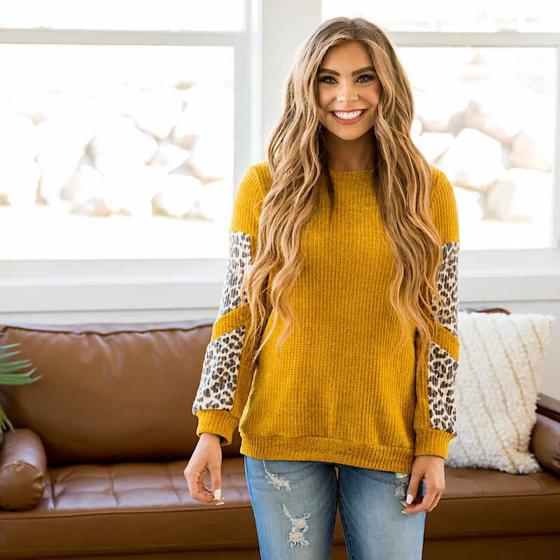 NEW! Ashlynn Mustard and Leopard Chenille Sweater - Arrow Twenty Two