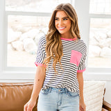 Emma Navy Striped Top with Neon Pink Details - Arrow Twenty Two