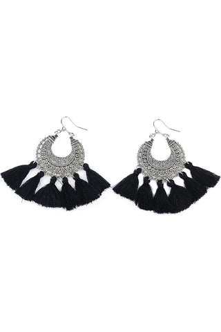 Nomad Earrings with Black Tassels