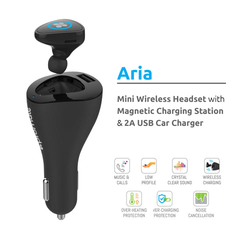 Aria: Mini Bluetooth Headphone with Magnetic Charging Station & 2A USB Car Charger