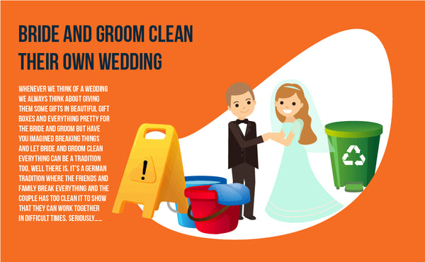 Bride and groom clean the mess at their own wedding