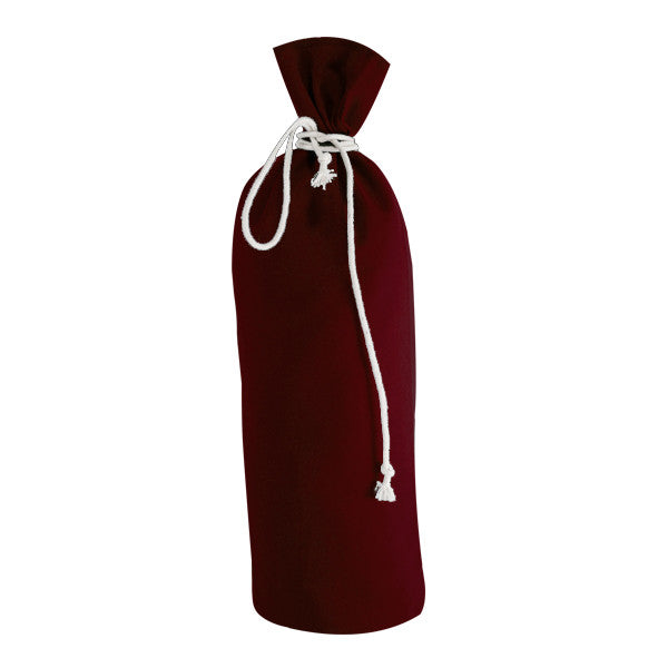 Burgundy Canvas Bottle Drawstring Bags