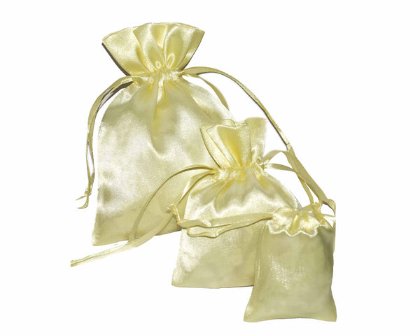 Beige Color Satin Drawstring Pouches