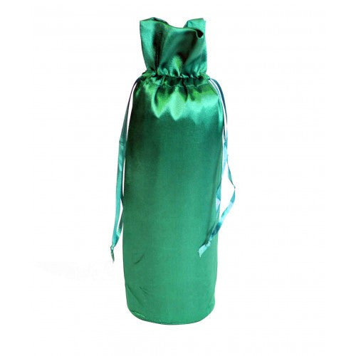 Bottle Green Satin Bottle Drawstring Bags