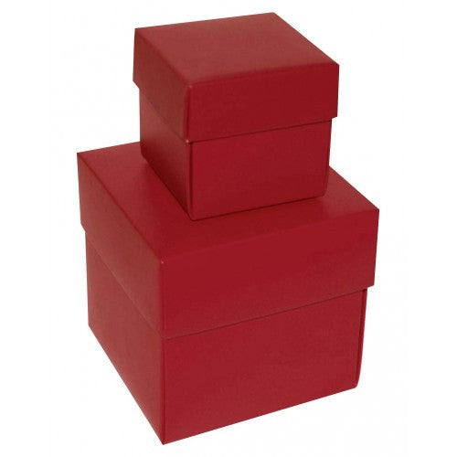 Burgundy Square Matt Laminated Gift Boxes -2 Pieces