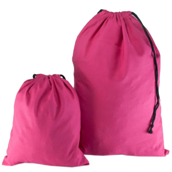 Fuchsia Cotton Drawstring Bags