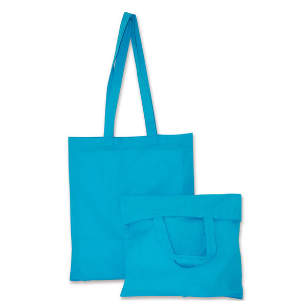 Turquoise Blue Natural Cotton Bags with Long and Short Handles