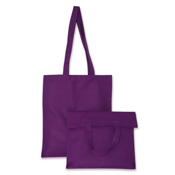 Violet Natural Cotton Bags with Long and Short Handles