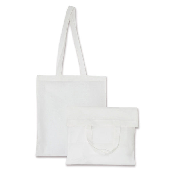 White Natural Cotton Bags with Long and Short Handles