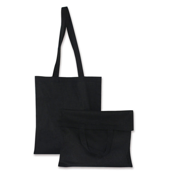 Black Natural Cotton Bags with Long and Short Handles