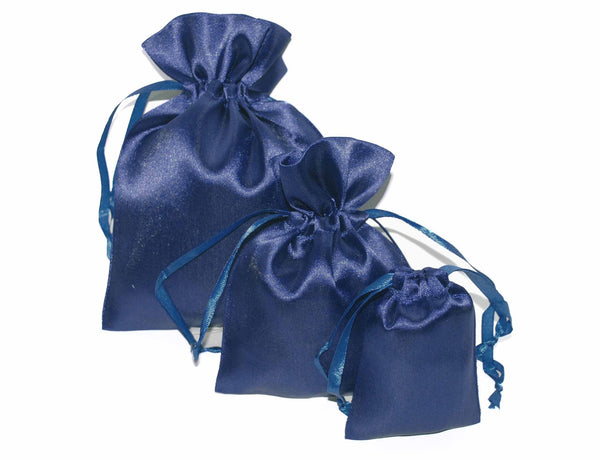 Deep Blue Satin Drawstring Pouches