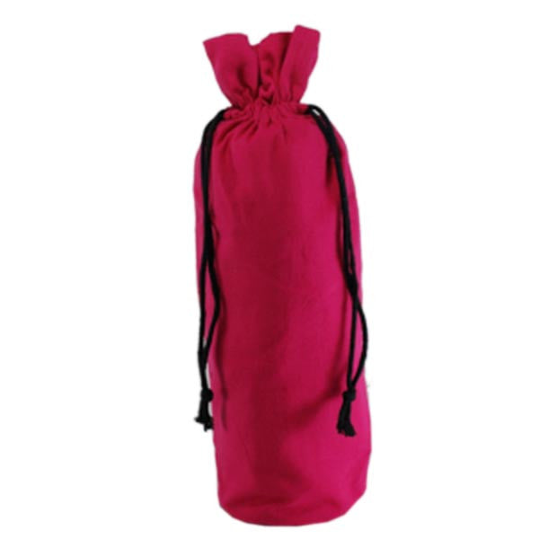 Fuchsia Cotton Bottle Drawstring Bags