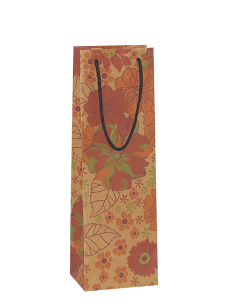 Floral Brown Bottle Gift Bag Rope Handle
