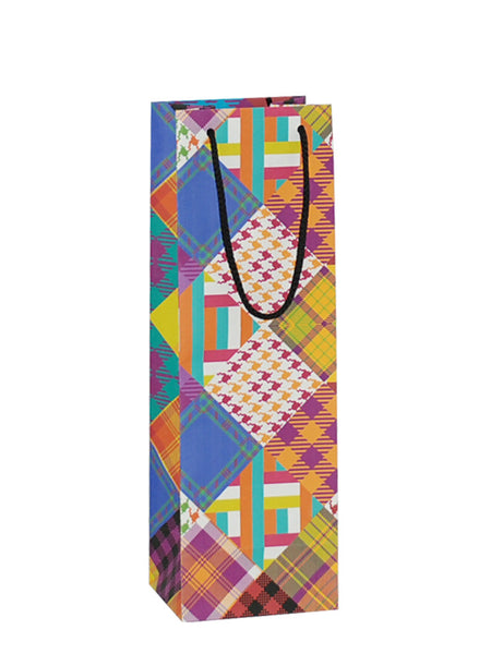 Fabric Patchwork Red Bottle Gift Bag Rope Handle