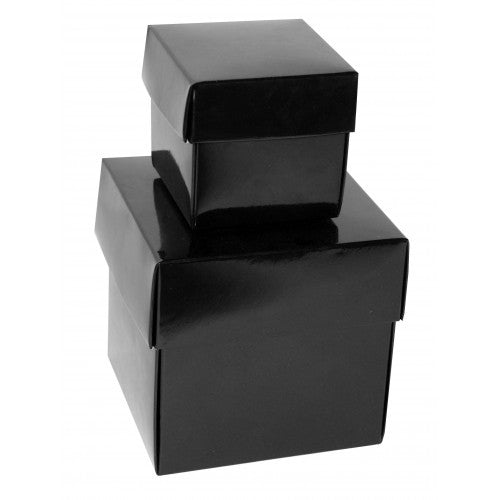 Black Rectangle Gloss Laminated Gift Boxes - 2 Pieces
