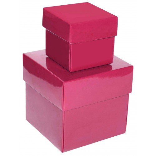 Hot Pink Square Gloss Laminated Gift Boxes - 2 Pieces