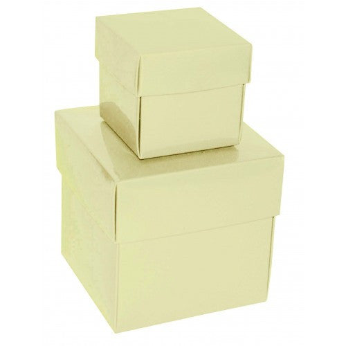 Ivory Square Gloss Laminated Gift Boxes - 2 Pieces