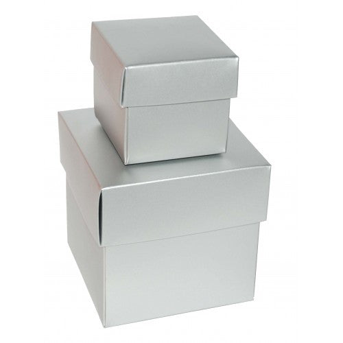 Silver Rectangle Gloss Laminated Gift Boxes - 2 Pieces