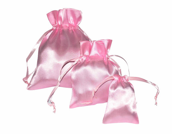 Light Pink Satin Drawstring Pouches