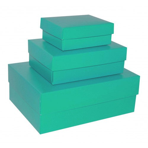 Aqua Green Rectangle Matt Laminated Gift Boxes - 2 Pieces