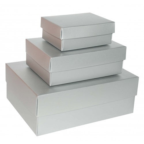 Silver Rectangle Matt Laminated Gift Boxes - 2 Pieces