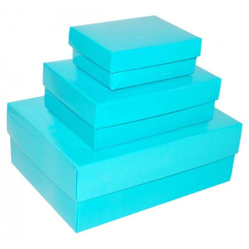 Turquoise Blue Rectangle Matt Laminated Gift Boxes - 2 Pieces