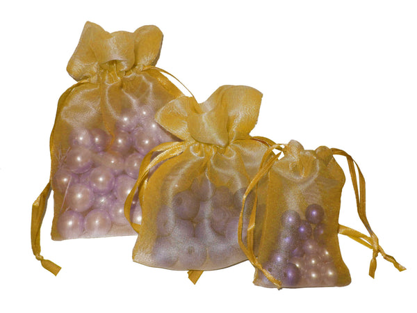 Olive Gold Organza Drawstring Pouches
