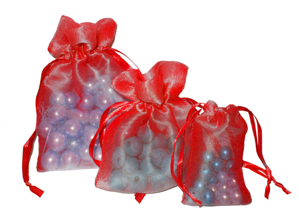 Red Organza Drawstring Pouches