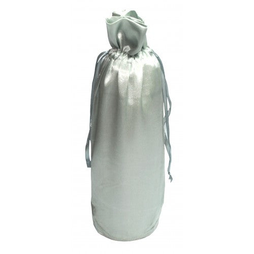 Silver Satin Bottle Drawstring Bags