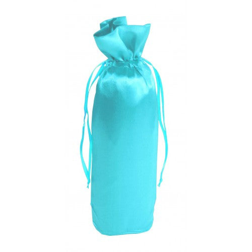 Sky Blue Satin Bottle Drawstring Bags