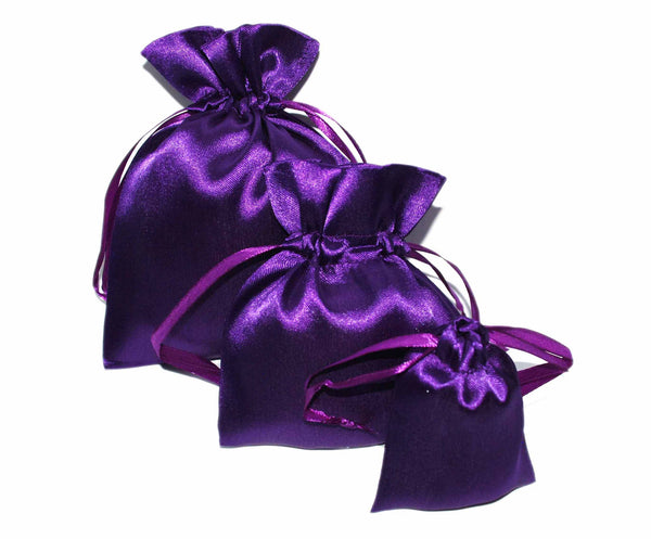 Violet Satin Drawstring Pouches