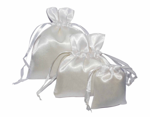 White Satin Drawstring Pouches