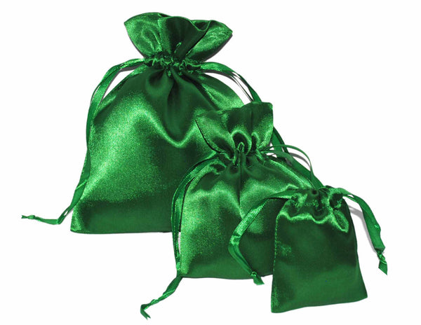 X-Mas Green Satin Drawstring Pouches