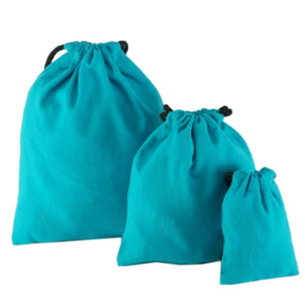 Aqua Blue Cotton Drawstring Pouches