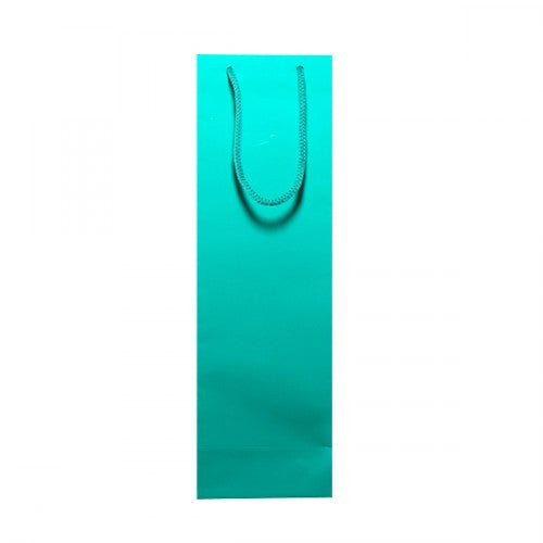 Solid Aqua Green Gloss Laminated Bottle Bags