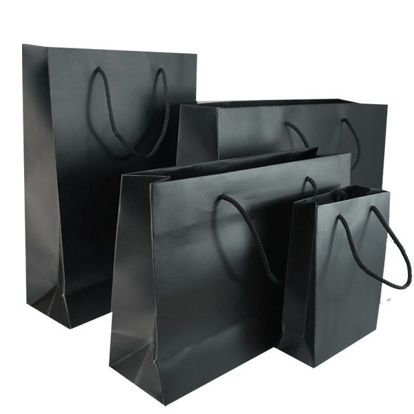 Black Matt Laminated Carrier Bag with Rope Handle