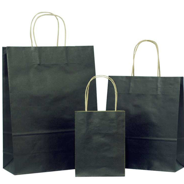 black solid brown carrier bag with twisted handles