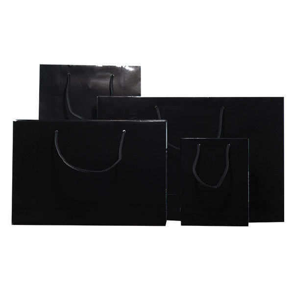 Black Gloss Laminated Carrier Bags with Rope Handle
