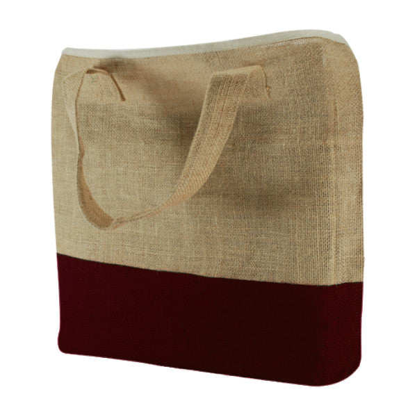 Natural Burgundy Jute Two Colour Bags