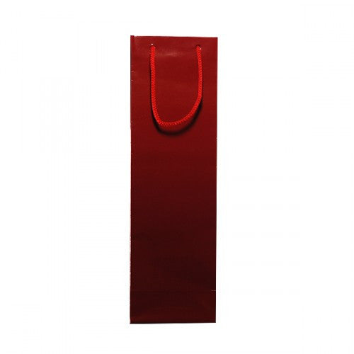 Solid Burgundy Gloss Laminated Bottle Bags