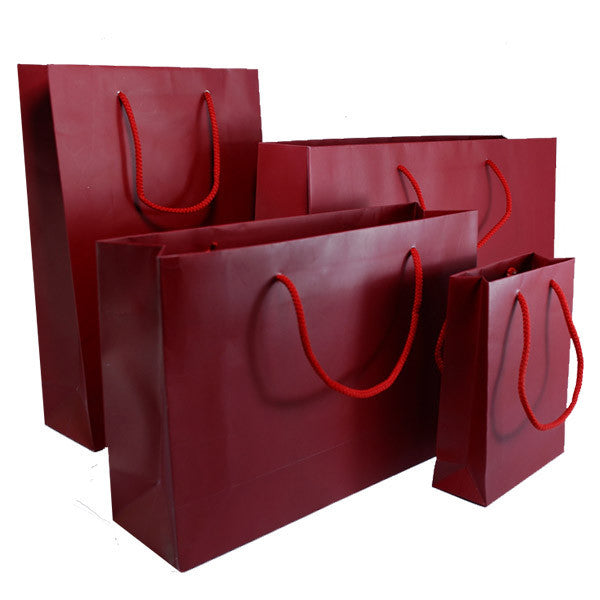 Burgandy Matt Laminated Carrier Bag with Rope Handle