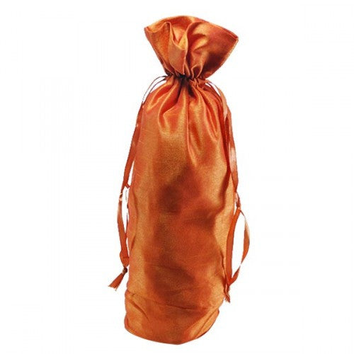 Burnt Orange Dupion Silk Bottle Drawstring Bags