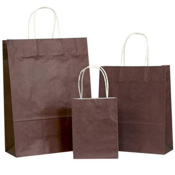 Chocolate Solid on White Carrier Bag with Twisted Handle